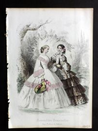 Journal des Demoiselles C1850 Antique Hand Col Fashion Print 44